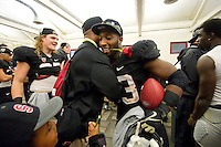 STANFORD, CA-NOVEMBER 30, 2012 - Stepfan Taylor celebrates with Pep Hamilton after winning the PAC-12 Championship at Stanford Stadium. The Stanford Cardinal advances to the Rose Bowl with a 27-24 win over the UCLA Bruins.