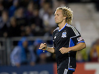 Steven Lenhart of Earthquakes reacts after missing a goal during the game against Galaxy at Buck Shaw Stadium in Santa Clara, California on November 7th, 2012.   LA Galaxy defeated San Jose Earthquakes, 3-1.