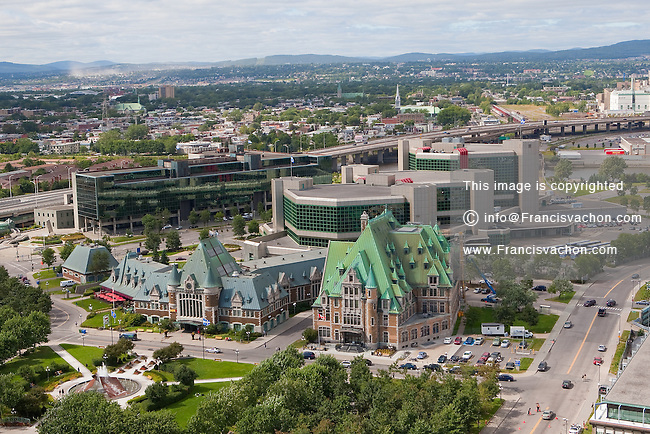 "The VIA Rail train station is pictured in Quebec city August 26, 2009. In this picture can also be seen the sculpture ""Eclatement II"" artpiece, the Courthouse and the SAAQ headquarters."