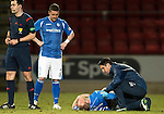 St Johnstone v Inverness Caley Thistle&hellip;09.03.16  SPFL McDiarmid Park, Perth<br />Steven Anderson gets treatment from the physio after aknock in the back<br />Picture by Graeme Hart.<br />Copyright Perthshire Picture Agency<br />Tel: 01738 623350  Mobile: 07990 594431