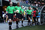 19 June 2015: Match officials. From left: Assistant Referee TJ Zablocki, Referee Brandon Artis, Fourth Official Desmond Miller, and Assistant Referee Reyna Fonseca. The Portland Thorns FC hosted FC Kansas City at Providence Park in Portland, Oregon in a National Women's Soccer League 2015 regular season match. The game ended in a 1-1 tie.