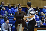 25 November 2014: Buffalo head coach Felisha Legette-Jack (left) talks with referee Kevin Sparrock (right). The Duke University Blue Devils hosted the State University of New York Buffalo Bulls at Cameron Indoor Stadium in Durham, North Carolina in a 2014-15 NCAA Division I Women's Basketball game. Duke won the game 88-54.