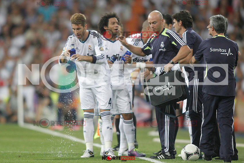 Real Madrid's  players during Super Copa of Spain on Agost 29th 2012...Photo:  (ALTERPHOTOS/Ricky) Super Cup match. August 29, 2012. <br />