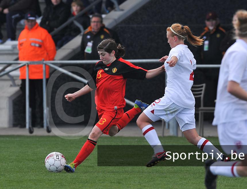 UEFA Women's Under 17 Championship - Second Qualifying round - group 1 : Belgium - England : .Noemie Gelders aan de bal.foto DAVID CATRY / Vrouwenteam.be