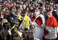 Pope Benedict XVI cardinal Vicario Agostino Vallini  celebrates mass  during his visit at the parish of San Giovanni Battista de La Salle, in the Rome.March 4, 2012