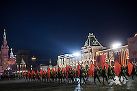 Moscow, Russia, 04/05/2010..Russian soldiers in World War Two uniform at a night time rehearsal in Red Square for the forthcoming May 9 Victory Day parade, scheduled to be the largest for many years.