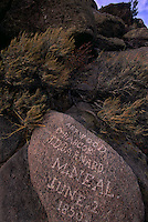 Nineteenth century inscriptions attest to the fortitude of emigrants who crossed the plains into central Wyoming on the Oregon Trail. Many paused to carve their names near Independence Rock and Devil's Gate. Ahead lay greater travails: little water, few buffalo, the Continental Divide.