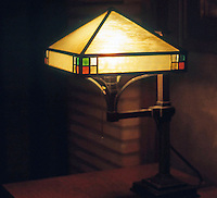 F.L. Wright: Martin House. Interior lamp.  Photo '88.