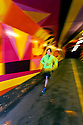 PE00278-00...WASHINGTON - Piierce Prohovost jogging in a pedestrian tunnel on the Burk Gilman Trail in Kenmore. (MR# P9)