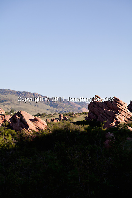 Red Rocks in the South Valley Park Ken-Caryl Ranch Open Space in Colorado at dawn.