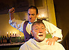 Sweeney Todd<br /> by Tooting Arts Club <br /> at Harrington's Pie &amp; Mash Shop, London, Great Britain <br /> press photocall <br /> 16th March 2015 <br /> <br /> Jeremy Secomb as Sweeney Todd<br /> <br /> Duncan Smith as Judge Turpin <br /> <br /> Photograph by Elliott Franks <br /> Image licensed to Elliott Franks Photography Services