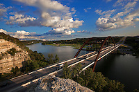 The 360 Pennybacker Bridge is an Austin landmark and great when viewed from top of the overlook. If you are new to Austin or having travelers in your group, spend a few short moments to travel on LP 360 (Southbound), stop before the bridge, then make the simple climb up (about 3-5 mins of gentle walking) for a great view. From the upper vantage point, on a beautiful day, you can see all the way to the Austin skyline and watch the boats winding on the picturesque lake. Take a small lunch and make it a small break to eat and relax on the stoned edge with your family and friends.