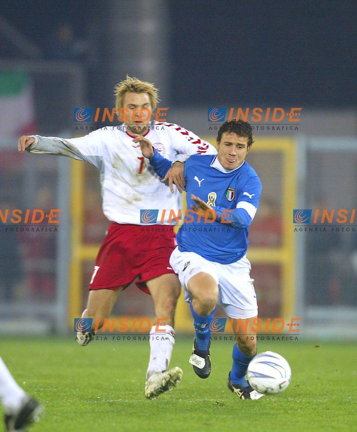 Rieti 19 Novembre 2003 Qualificazioni Campionato Europeo Under 21<br /> Italia Danimarca Under 21 0-0<br /> Matteo Brighi e Michael Silberbauer<br /> Foto Andrea Staccioli Insidefoto