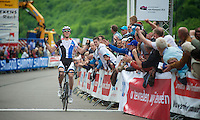 Lars Boom (NLD) wins stage 4 and becomes the new overall leader<br /> <br /> 2013 Ster ZLM Tour <br /> stage 4: Verviers - La Gileppe (186km)