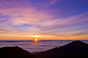 Sunrise at Haleakala Crater from Kalahaku Overlook, Haleakala National Park, Maui, Hawaii.