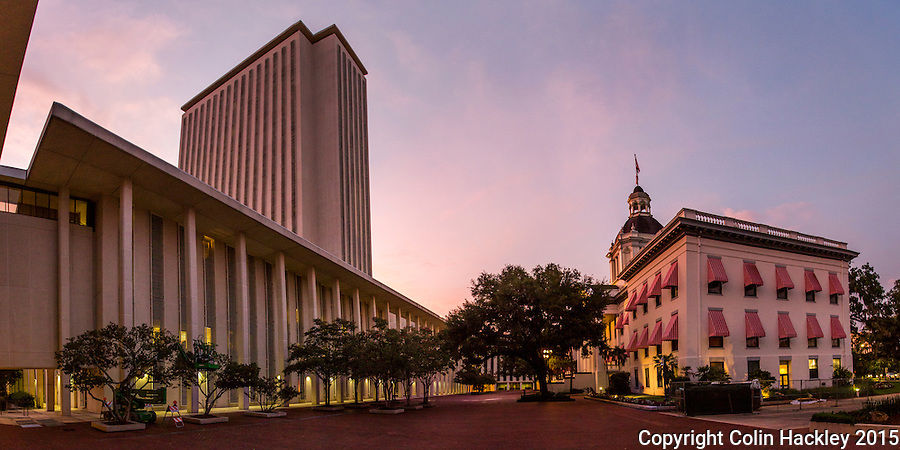TALLAHASSEE, FLA. 7/13/15-Florida&rsquo;s Capitol plaza at sunset.<br />COLIN HACKLEY PHOTO<br />EDITOR&rsquo;S NOTE: This image is comprised of multiple photos taken at the same moment and stitched together in photoshop to create a panoramic image.