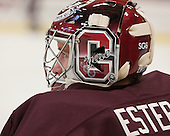 Steve Estep (Colgate - 38) - the &quot;SG6&quot; on the back of Colgate player masks/helmets is for their teammate Spiro Goulakis who is currently being treated for Hodgkin's Lymphoma. - The Harvard University Crimson defeated the Colgate University Raiders 4-1 (EN) on Friday, February 15, 2013, at the Bright Hockey Center in Cambridge, Massachusetts.