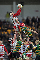 Jeremy Thrush of Gloucester Rugby wins the ball at a lineout. Aviva Premiership match, between Northampton Saints and Gloucester Rugby on November 27, 2015 at Franklin's Gardens in Northampton, England. Photo by: Patrick Khachfe / JMP