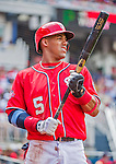 21 June 2015: Washington Nationals infielder Yunel Escobar stands on deck during a game against the Pittsburgh Pirates at Nationals Park in Washington, DC. The Nationals defeated the Pirates 9-2 to sweep their 3-game weekend series, and improve their record to 37-33. Mandatory Credit: Ed Wolfstein Photo *** RAW (NEF) Image File Available ***
