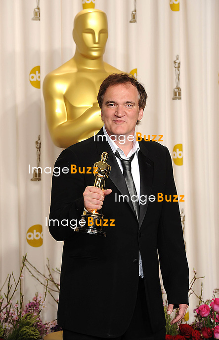 Quentin Tarantino with the Oscar for Original Screenplay for Django Unchained at the 85th Academy Awards at the Dolby Theatre, Los Angeles.