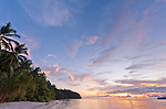 Idyllic beach at sunset,, IIris Strait, Kaimana area, Papua. Landowners are interested in developing a modest toursim operation at this site.