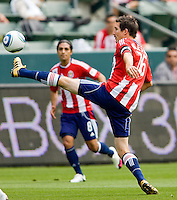 Chivas USA midfielder Sacha Kljestan (16) traps a ball. Chivas USA defeated the Red Bulls of New York 2-0 at Home Depot Center stadium in Carson, California April 10, 2010.  .