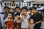 Group of boys pose in Hanoi, North Vietnam.  (Jim Bryant Photo).....