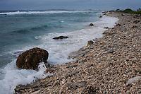 Jaluit Atoll's ocean beach on a stormy day, Marshall Islands.