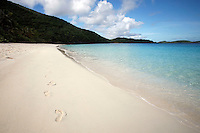 September 2008:  Footprints in the sand at Trunk Bay on St. John US Virgin Islands beach scenes.  Stock photos available.