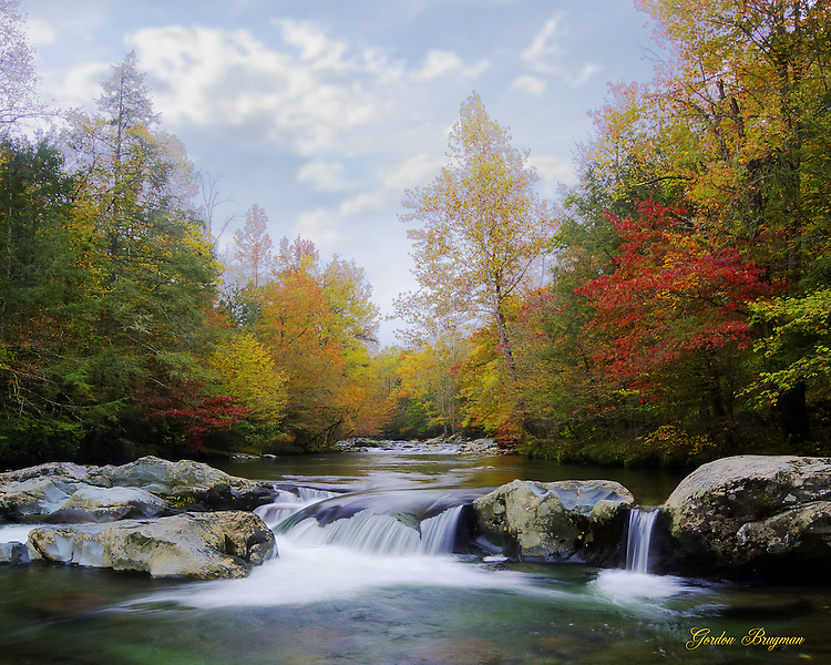 An HDR image of Fall along the Greenbrier River in the Great Smoky Mountains National Park. Smoky Mountain photos by Gordon and Jan Brugman.