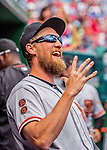 7 August 2016: San Francisco Giants right fielder Hunter Pence smiles in the dugout prior to a game against the Washington Nationals at Nationals Park in Washington, DC. The Nationals shut out the Giants 1-0 to take the rubber match of their 3-game series. Mandatory Credit: Ed Wolfstein Photo *** RAW (NEF) Image File Available ***
