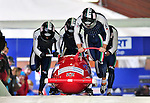 22 November 2009:  Simone Bertazzo, piloting the Italy 1 bobsled, leads his 4-man team to a 15th place finish at the FIBT World Cup competition, in Lake Placid, New York, USA. Mandatory Credit: Ed Wolfstein Photo