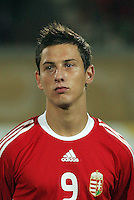 Hungary's Krisztian Nemeth (9)  stands on the field before the match against Italy during the FIFA Under 20 World Cup Quarter-final match at the Mubarak Stadium  in Suez, Egypt, on October 09, 2009. Hungary won 2-3 in overtime.