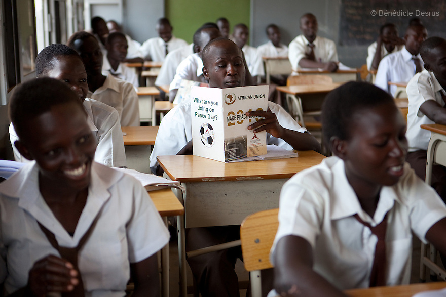 For UNESCO<br /> <br /> Third year secondary school Sudanese students  during a class at Juba Day Secondary School in Juba, South Sudan. The school is mix boys and girls and is taught in english language. Photo credit: Benedicte Desrus