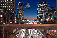 US 101, Harbor Freeway, LA, Skyline, Dusk, Los Angeles, California, USA, Car trails of the freeways of downtown Los Angeles at night High dynamic range imaging (HDRI or HDR)