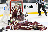 Thatcher Demko (BC - 30), Scott Savage (BC - 28) - The Boston College Eagles defeated the Boston University Terriers 3-1 (EN) in their opening round game of the 2014 Beanpot on Monday, February 3, 2014, at TD Garden in Boston, Massachusetts.