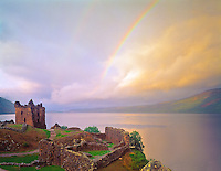 Rainbow over Urquhart Castle  Urquhart Castle Historical Park, Scotland, United Kingdom Loch Ness  in the Great Glen  Built in the 13th Century September
