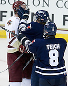 Jimmy Hayes (BC - 10), Jeff Zippel (Toronto - 15), Bryden Teich (Toronto - 8) - The Boston College Eagles defeated the visiting University of Toronto Varsity Blues 8-0 in an exhibition game on Sunday afternoon, October 3, 2010, at Conte Forum in Chestnut Hill, MA.
