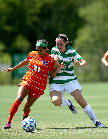 ARLINGTON, TX - AUGUST 25: Leah Cox #8 of the North Texas Mean Green - Houston Baptist vs North Texas Mean Green Soccer at Mean Green Village Soccer Field in Denton on August 25, 2013 in Denton, Texas. Photo by Rick Yeatts