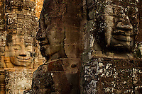 The many faces of the Bayon Temple, Khmer ancient ruins near Angkor Wat, Siem Reap, Cambodia