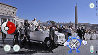 Pokémon Go. Poliwhirl. Pope Francis during of a weekly general audience at St Peter's square in Vatican. on August 31, 2016