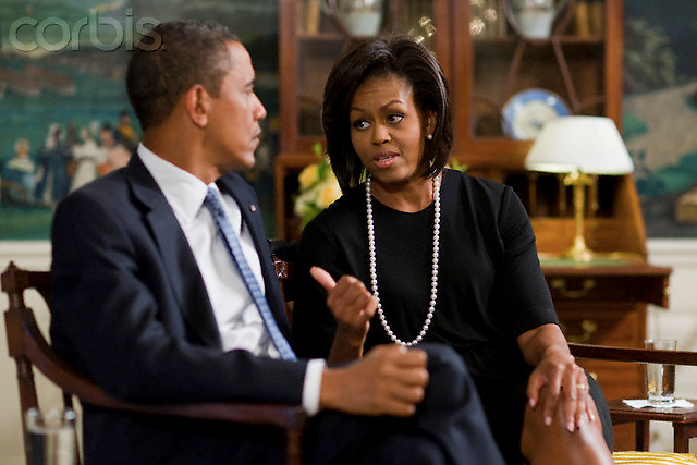 01 Sep 2009, Washington, DC, USA --- President Barack Obama and First Lady Michelle Obama during an interview with Time Managing Editor Rick Stengel at the White House in Washington. --- Image by © Brooks Kraft/Corbis