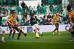 Hibernian 3 Alloa Athletic 0, 12/09/2015. Easter Road stadium, Scottish Championship. The home team's John McGinn scores his side's third goal at Easter Road stadium during second-half of the Scottish Championship match between Hibernian and visitors Alloa Athletic. The home team won the game by 3-0, watched by a crowd of 7,774. It was the Edinburgh club's second season in the second tier of Scottish football following their relegation from the Premiership in 2013-14. Photo by Colin McPherson.