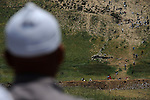 Seen from the Druze village of Majdal Shams, Golan Heights, protesters mark the 44th anniversary of the 1967 Six-Day War, at Syria-Israel border. Israeli troops opened fire at Palestinian protesters in Syria, who rushed towards the border fence; Syrian state reports said 23 demonstrators were killed.<br /> Israel had been on high alert for a feared repetition of last month's storming by thousands of Palestinian protesters from Syria and Lebanon into Israel.