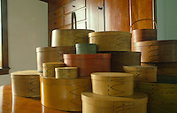A display of stained cherrywood Shaker boxes