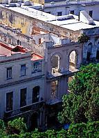 Old Havana Cuba Rooftops showing urban decay, Cuba, Republic of Cuba,