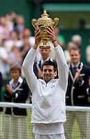 NOVAK DJOKOVIC (SRB) (2) against RAFAEL NADAL (ESP) (1) in the Final of the Gentlemen's SIngles. Novak Djokovic beat Rafael Nadal 6-4 6-1 1-6 6-3..Tennis - Grand Slam - Wimbledon - AELTC - London- Day 13 - Sun July 3rd 2011..© AMN Images, Barry House, 20-22 Worple Road, London, SW19 4DH, UK..+44 208 947 0100.www.amnimages.photoshelter.com.www.advantagemedianetwork.com.