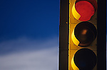 Traffic light red at intersection Woodinville Washington State USA