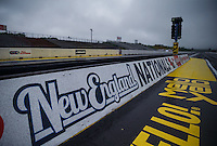 Jun 6, 2016; Epping , NH, USA; General view of the starting line during a rain delay to NHRA qualifying for the New England Nationals at New England Dragway. Mandatory Credit: Mark J. Rebilas-USA TODAY Sports