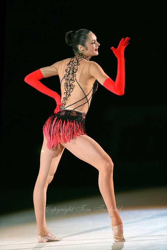 Anna Bessonova of Ukraine handsfree expresses during gala at 2007 Portimao World Cup of Rhythmic Gymnastics on April 29, 2006.  (Photo by Tom Theobald)..